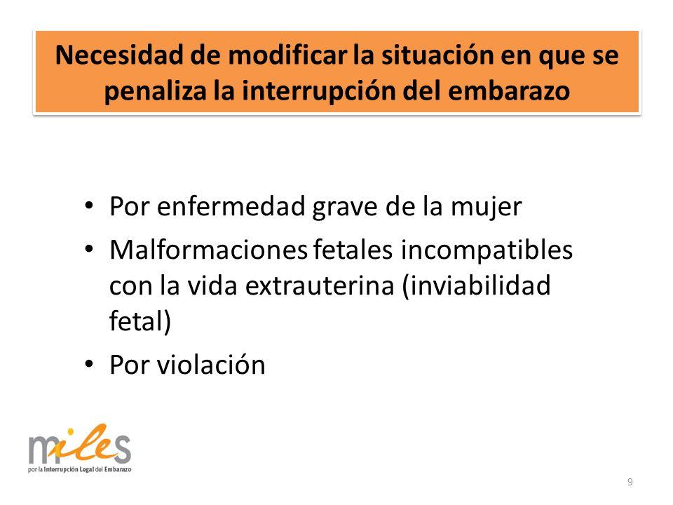 Necesidad de modificar la situación en que se penaliza la interrupción del embarazo Por enfermedad grave de la mujer Malformaciones fetales incompatibles con la vida extrauterina (inviabilidad fetal) Por violación 9