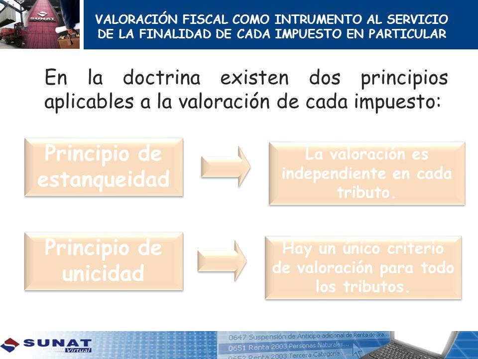 VALORACIÓN FISCAL COMO INTRUMENTO AL SERVICIO DE LA FINALIDAD DE CADA IMPUESTO EN PARTICULAR En la doctrina existen dos principios aplicables a la val