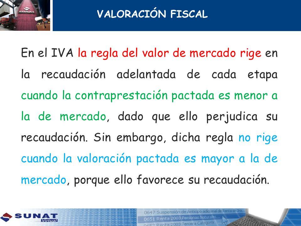 VALORACIÓN FISCAL En el IVA la regla del valor de mercado rige en la recaudación adelantada de cada etapa cuando la contraprestación pactada es menor