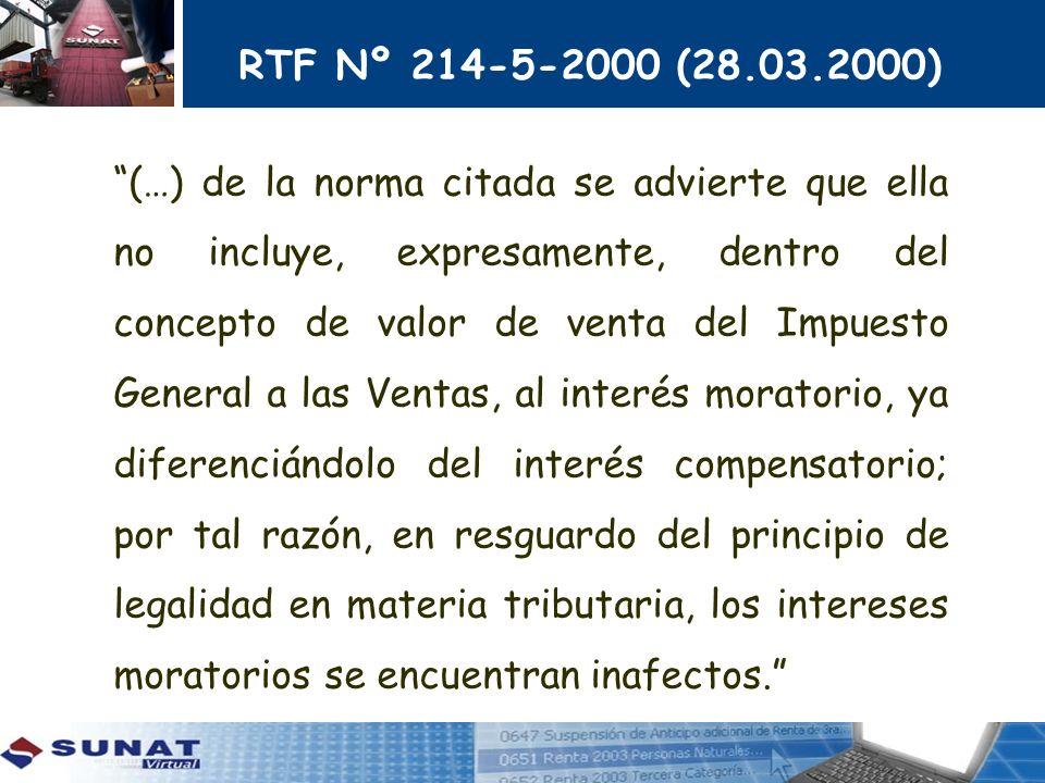 RTF Nº 214-5-2000 (28.03.2000) (…) de la norma citada se advierte que ella no incluye, expresamente, dentro del concepto de valor de venta del Impuest