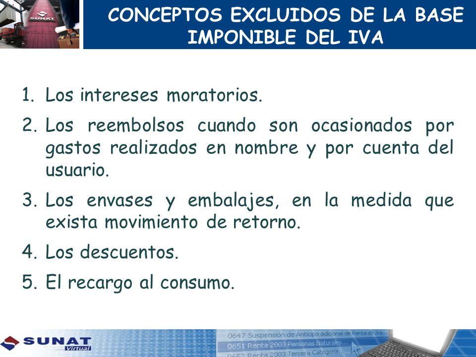 CONCEPTOS EXCLUIDOS DE LA BASE IMPONIBLE DEL IVA 1.Los intereses moratorios. 2.Los reembolsos cuando son ocasionados por gastos realizados en nombre y