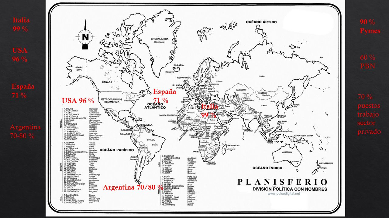 Italia 99 % USA 96 % España 71 % USA 96 % España 71 % Argentina 70-80 % Argentina 70/80 % 90 % Pymes 60 % PBN 70 % puestos trabajo sector privado