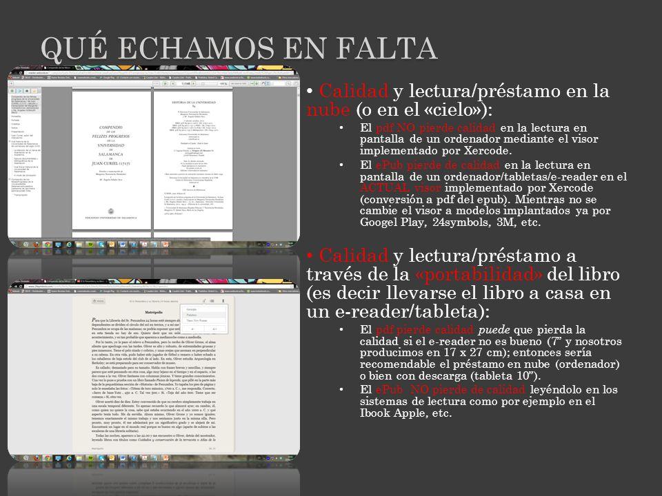 Calidad y lectura/préstamo en la nube (o en el «cielo»): El pdf NO pierde calidad en la lectura en pantalla de un ordenador mediante el visor implementado por Xercode.