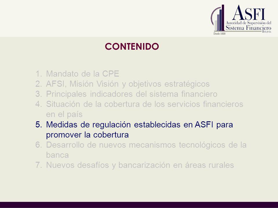 CONTENIDO 1.Mandato de la CPE 2.AFSI, Misión Visión y objetivos estratégicos 3.Principales indicadores del sistema financiero 4.Situación de la cobert