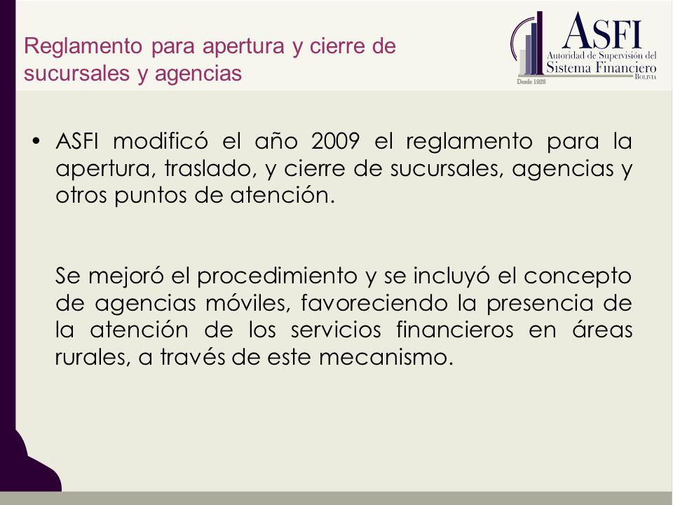 ASFI modificó el año 2009 el reglamento para la apertura, traslado, y cierre de sucursales, agencias y otros puntos de atención. Se mejoró el procedim