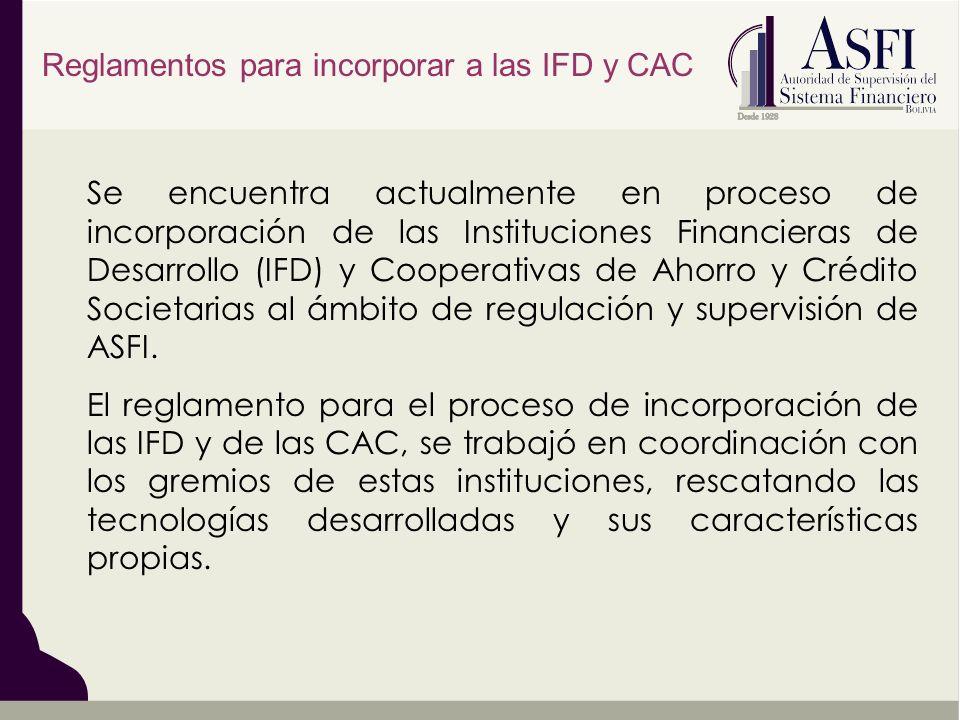 Se encuentra actualmente en proceso de incorporación de las Instituciones Financieras de Desarrollo (IFD) y Cooperativas de Ahorro y Crédito Societarias al ámbito de regulación y supervisión de ASFI.