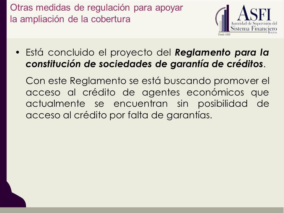 Está concluido el proyecto del Reglamento para la constitución de sociedades de garantía de créditos. Con este Reglamento se está buscando promover el