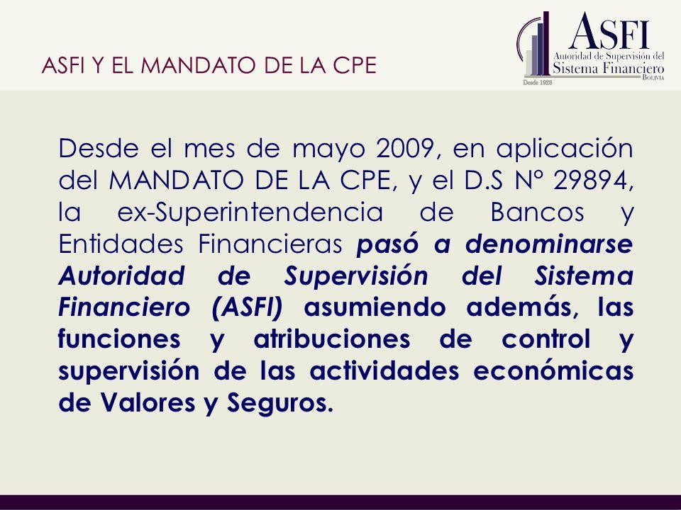 Desde el mes de mayo 2009, en aplicación del MANDATO DE LA CPE, y el D.S N° 29894, la ex-Superintendencia de Bancos y Entidades Financieras pasó a denominarse Autoridad de Supervisión del Sistema Financiero (ASFI) asumiendo además, las funciones y atribuciones de control y supervisión de las actividades económicas de Valores y Seguros.