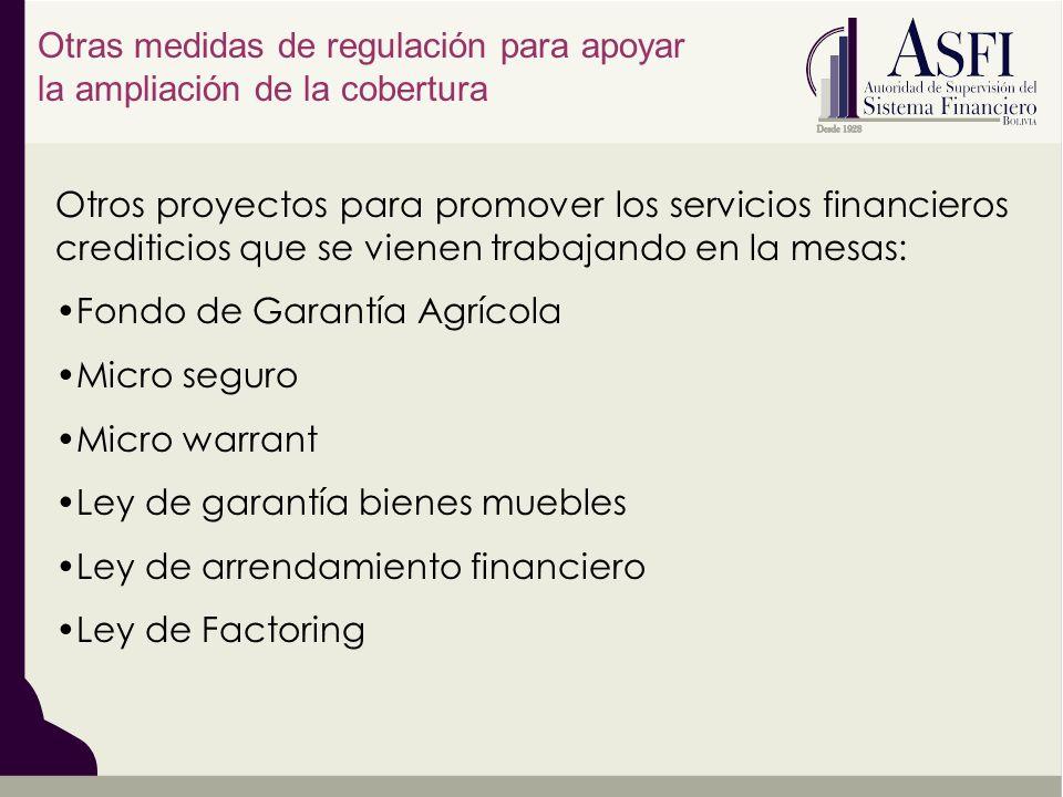 Otros proyectos para promover los servicios financieros crediticios que se vienen trabajando en la mesas: Fondo de Garantía Agrícola Micro seguro Micr