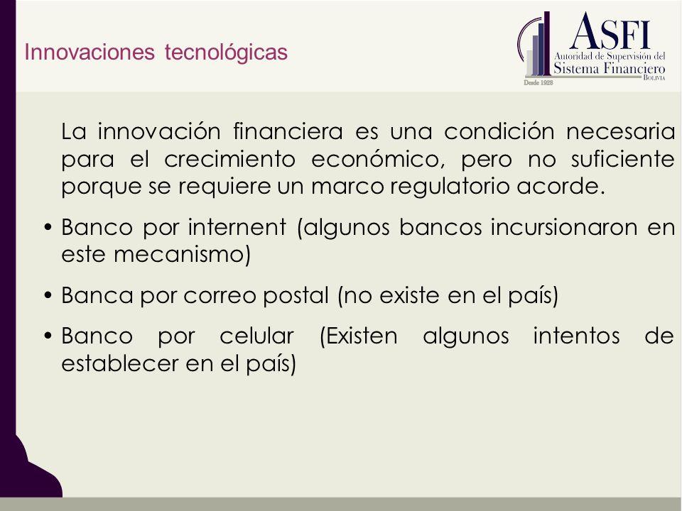 La innovación financiera es una condición necesaria para el crecimiento económico, pero no suficiente porque se requiere un marco regulatorio acorde.