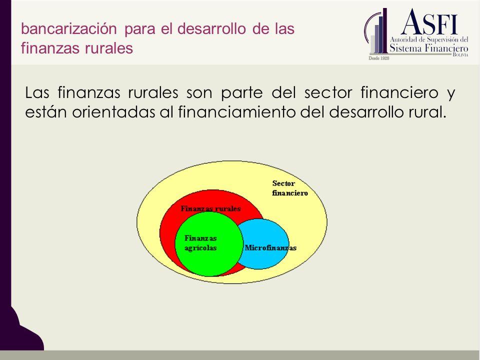 Las finanzas rurales son parte del sector financiero y están orientadas al financiamiento del desarrollo rural. bancarización para el desarrollo de la
