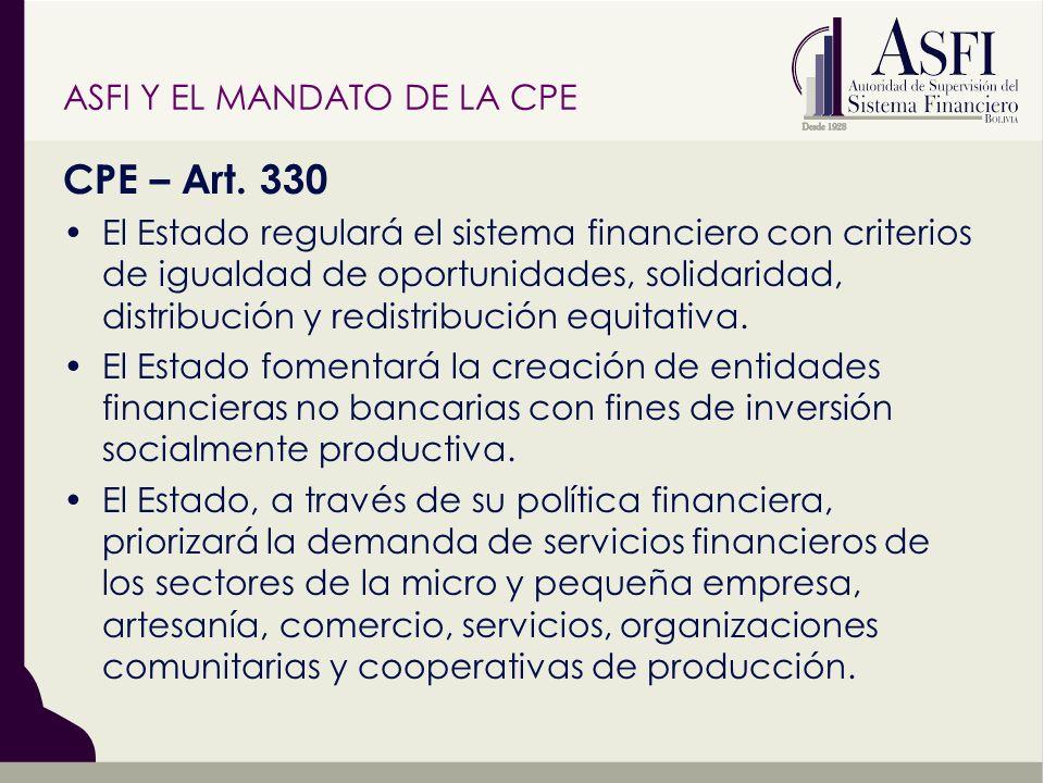 CPE – Art. 330 El Estado regulará el sistema financiero con criterios de igualdad de oportunidades, solidaridad, distribución y redistribución equitat