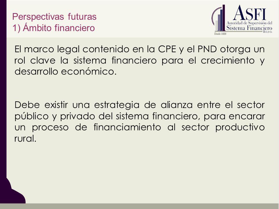 Perspectivas futuras 1) Ámbito financiero El marco legal contenido en la CPE y el PND otorga un rol clave la sistema financiero para el crecimiento y desarrollo económico.