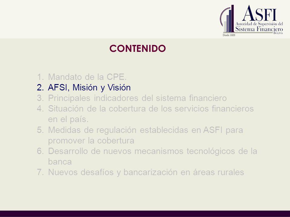 CONTENIDO 1.Mandato de la CPE. 2.AFSI, Misión y Visión 3.Principales indicadores del sistema financiero 4.Situación de la cobertura de los servicios f