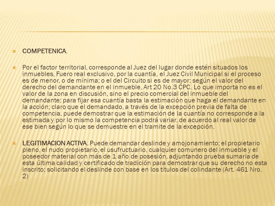 COMPETENICA. Por el factor territorial, corresponde al Juez del lugar donde estén situados los inmuebles, Fuero real exclusivo, por la cuantía, el Jue