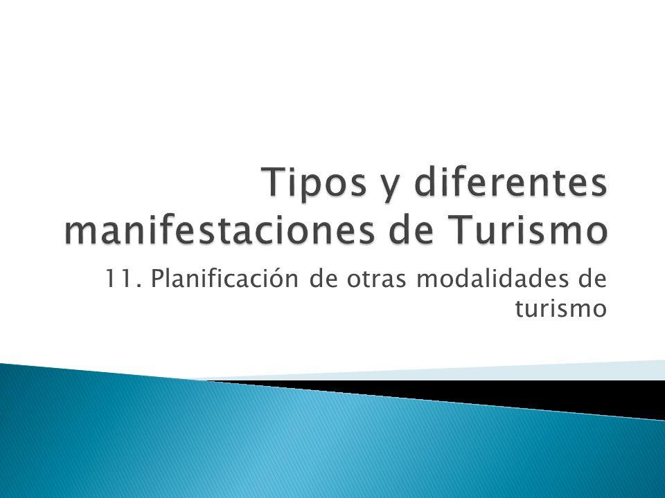 11. Planificación de otras modalidades de turismo
