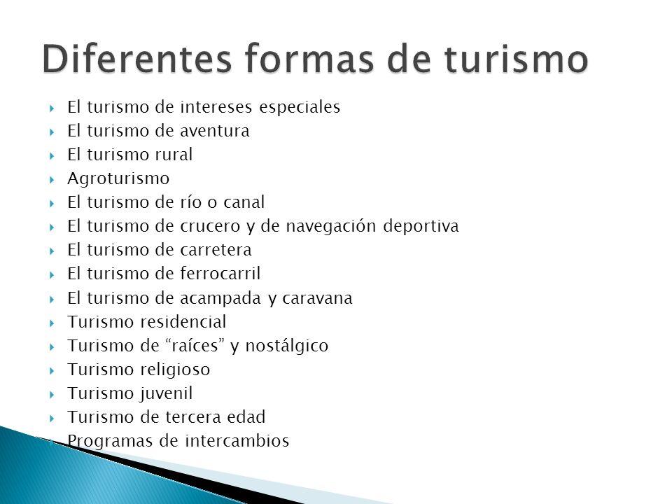 El turismo de intereses especiales El turismo de aventura El turismo rural Agroturismo El turismo de río o canal El turismo de crucero y de navegación