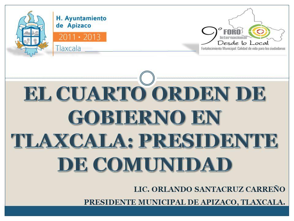 LIC. ORLANDO SANTACRUZ CARREÑO PRESIDENTE MUNICIPAL DE APIZACO, TLAXCALA.