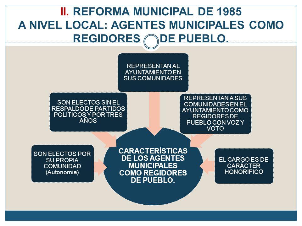 II. REFORMA MUNICIPAL DE 1985 A NIVEL LOCAL: AGENTES MUNICIPALES COMO REGIDORES DE PUEBLO. CARACTERÍSTICAS DE LOS AGENTES MUNICIPALES COMO REGIDORES D