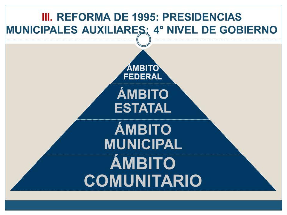 III. REFORMA DE 1995: PRESIDENCIAS MUNICIPALES AUXILIARES: 4° NIVEL DE GOBIERNO ÁMBITO FEDERAL ÁMBITO ESTATAL ÁMBITO MUNICIPAL ÁMBITO COMUNITARIO