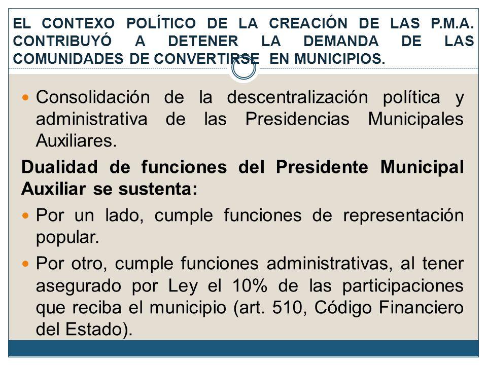 Consolidación de la descentralización política y administrativa de las Presidencias Municipales Auxiliares. Dualidad de funciones del Presidente Munic