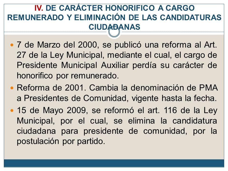 IV. DE CARÁCTER HONORIFICO A CARGO REMUNERADO Y ELIMINACIÓN DE LAS CANDIDATURAS CIUDADANAS 7 de Marzo del 2000, se publicó una reforma al Art. 27 de l