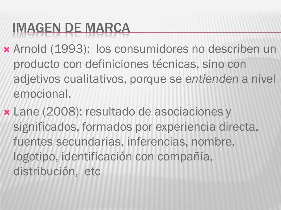 Arnold (1993): los consumidores no describen un producto con definiciones técnicas, sino con adjetivos cualitativos, porque se entienden a nivel emocional.