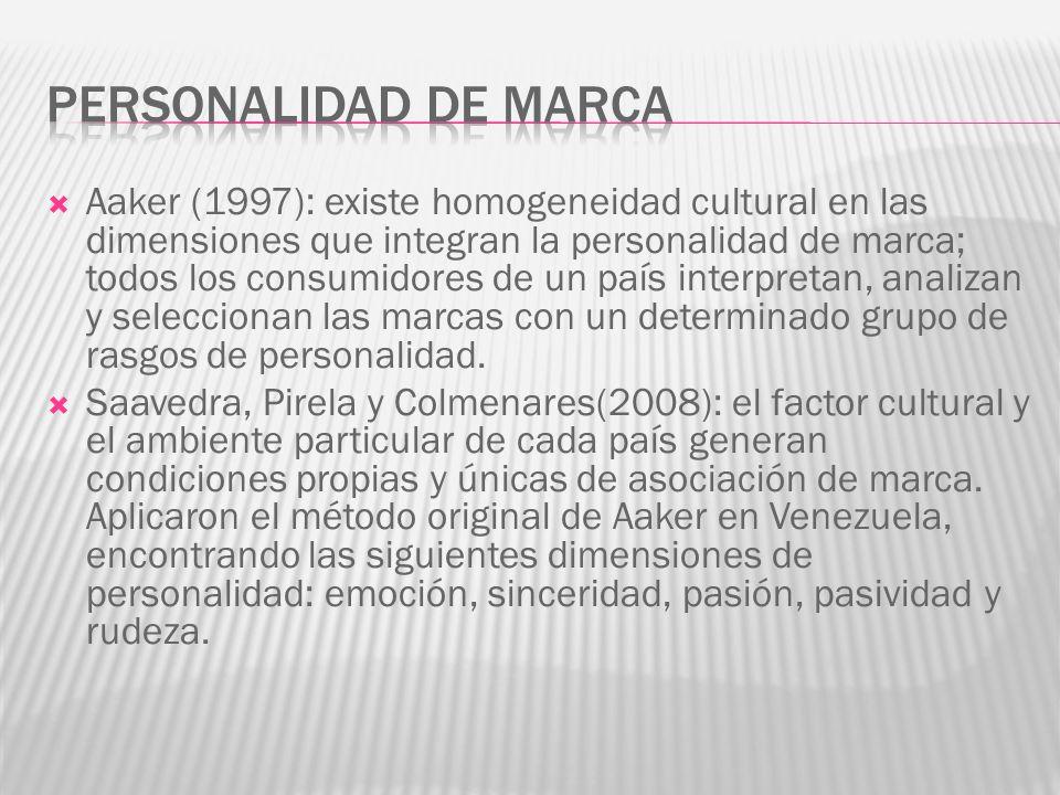 Aaker (1997): existe homogeneidad cultural en las dimensiones que integran la personalidad de marca; todos los consumidores de un país interpretan, analizan y seleccionan las marcas con un determinado grupo de rasgos de personalidad.