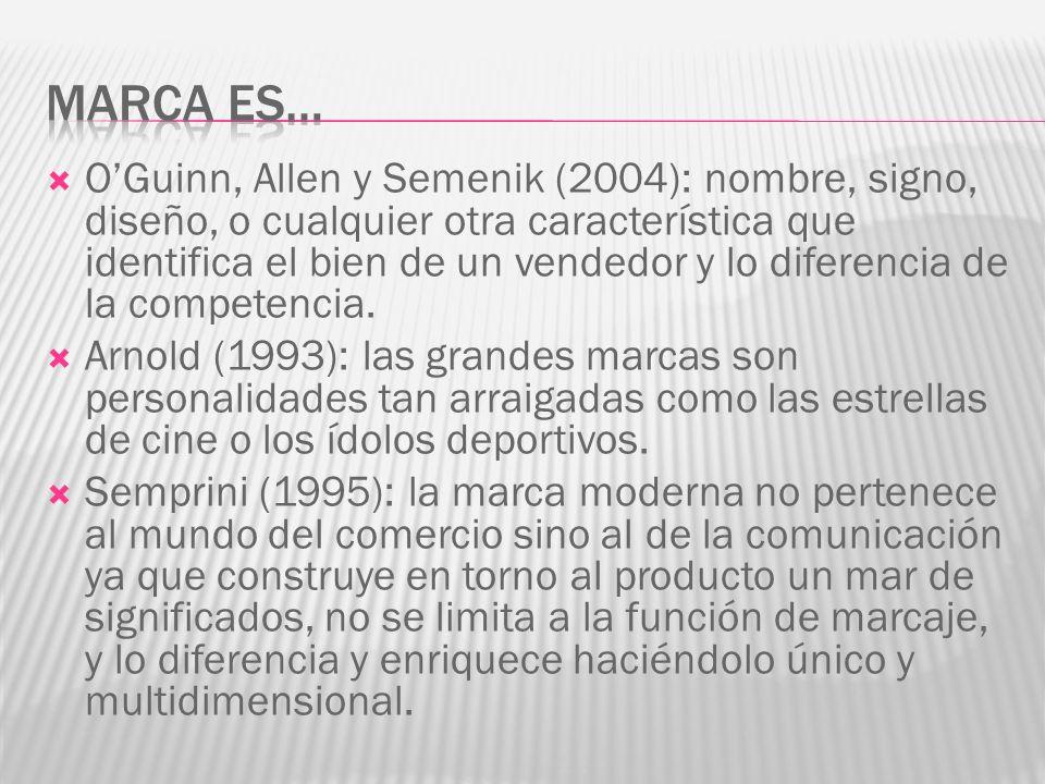 OGuinn, Allen y Semenik (2004): nombre, signo, diseño, o cualquier otra característica que identifica el bien de un vendedor y lo diferencia de la competencia.
