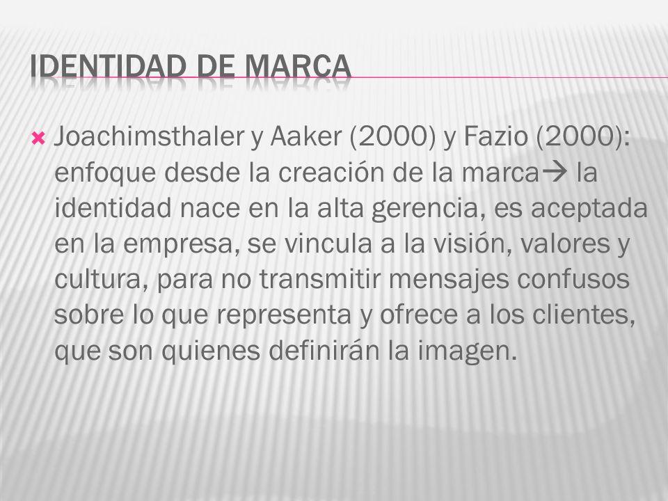 Joachimsthaler y Aaker (2000) y Fazio (2000): enfoque desde la creación de la marca la identidad nace en la alta gerencia, es aceptada en la empresa, se vincula a la visión, valores y cultura, para no transmitir mensajes confusos sobre lo que representa y ofrece a los clientes, que son quienes definirán la imagen.