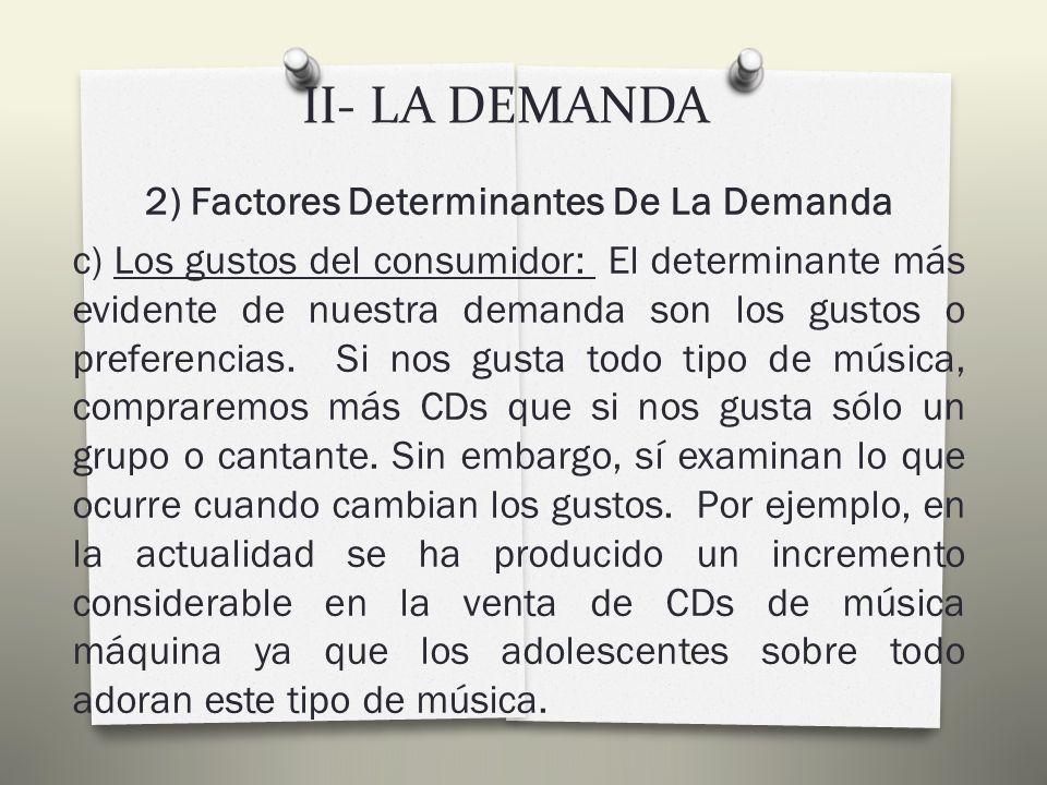 II- LA DEMANDA 2) Factores Determinantes De La Demanda b) Los precios de otros bienes: Supongamos que baja el precio de los mini disc.