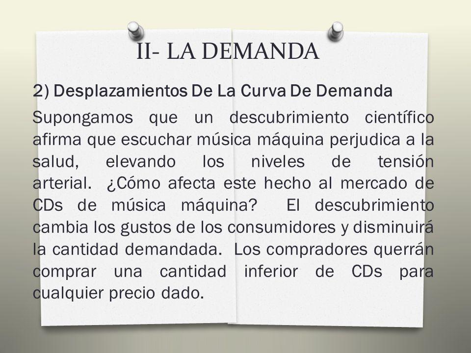 II- LA DEMANDA 2) Factores Determinantes De La Demanda c) Los gustos del consumidor: El determinante más evidente de nuestra demanda son los gustos o preferencias.