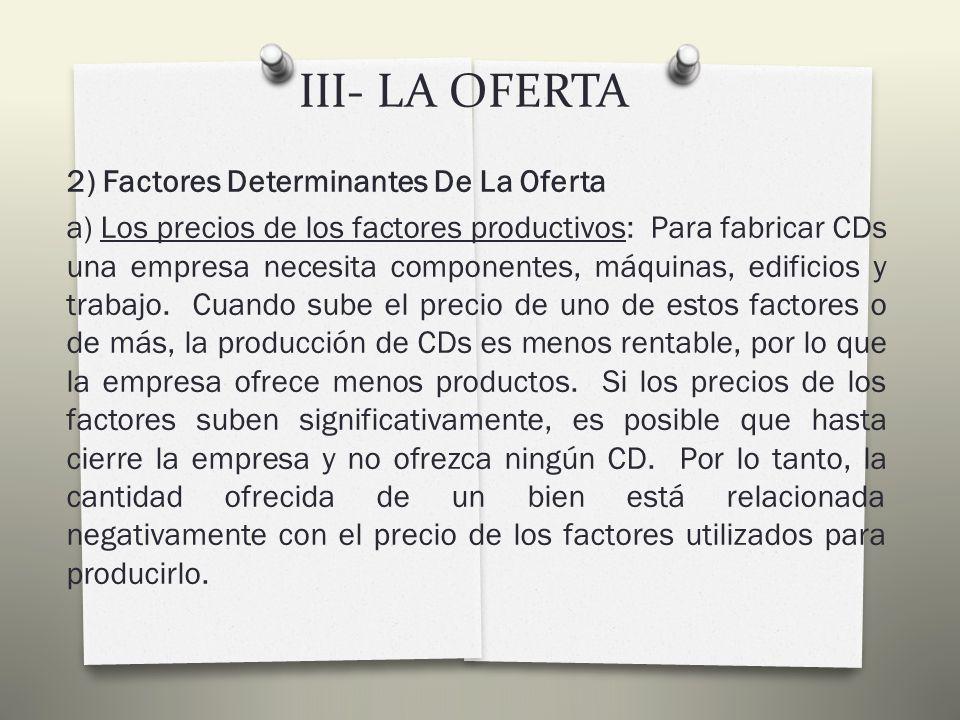 III- LA OFERTA 1) Concepto De Oferta, Tabla, Curva Y Ley De La Oferta PRECIO DE UN CD (en euros) CANTIDAD OFRECIDA DE CD S (mensuales) EMPRESA A CANTIDAD OFRECIDA DE CD S (mensuales) EMPRESA B CANTIDAD OFRECIDA DE CD S (mensuales) EMPRESA C CANTIDAD OFRECIDA DE CD S (mensuales) MERCADO 62406 83519 1046212 57315 68418 1779521 19810624 21911727