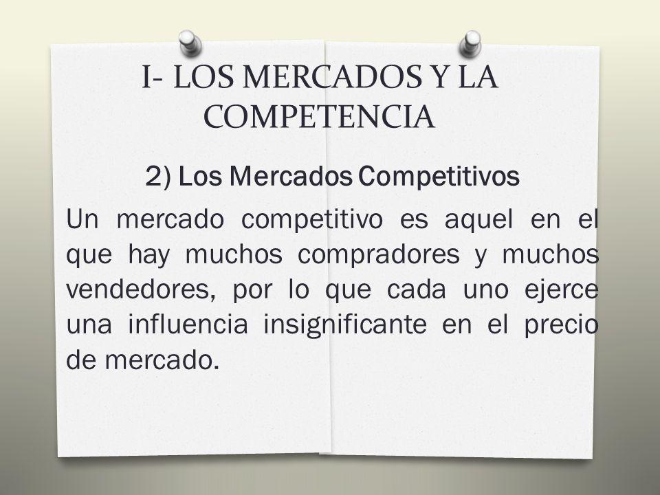 I- LOS MERCADOS Y LA COMPETENCIA 1) Concepto De Mercado: Podemos definir un MERCADO como un grupo de compradores y vendedores de un determinado bien o servicio.