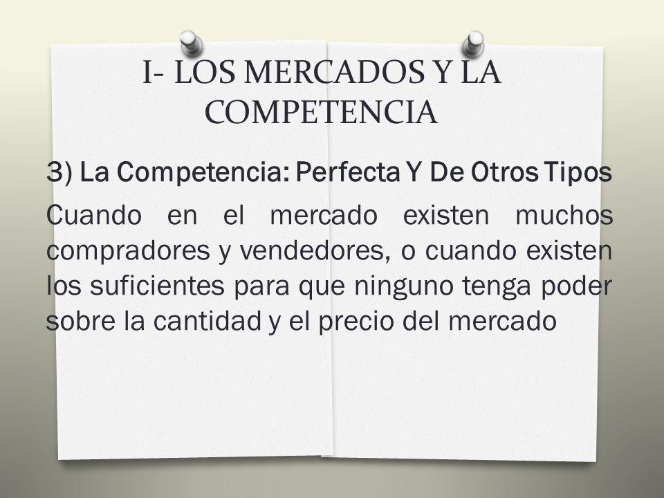 I- LOS MERCADOS Y LA COMPETENCIA Un solo vendedorMONOPOLIO Pocos vendedoresOLIGOPOLIO Muchos vendedores COMPETENCIA PERFECTA COMPETENCIA MONOPOLISTICA
