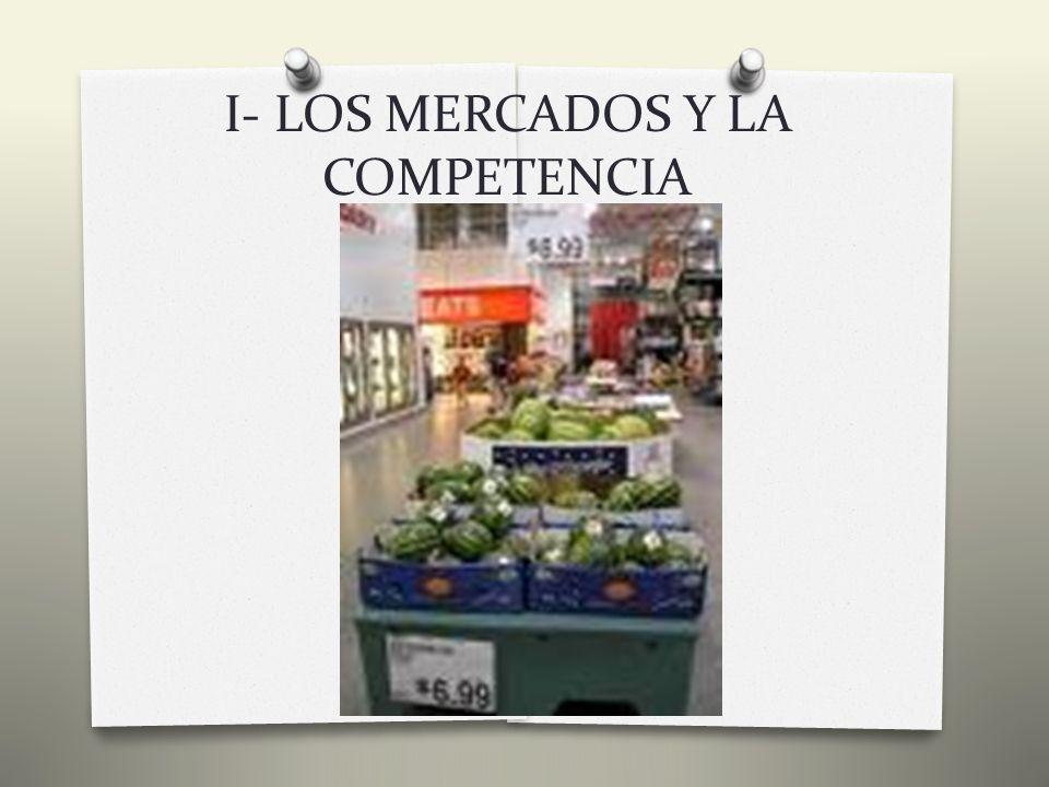 I- LOS MERCADOS Y LA COMPETENCIA 3) La Competencia: Perfecta Y De Otros Tipos Cuando en el mercado existen muchos compradores y vendedores, o cuando existen los suficientes para que ninguno tenga poder sobre la cantidad y el precio del mercado