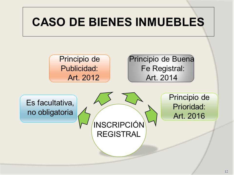 CASO DE BIENES INMUEBLES 12 INSCRIPCIÓN REGISTRAL Es facultativa, no obligatoria Principio de Publicidad: Art.