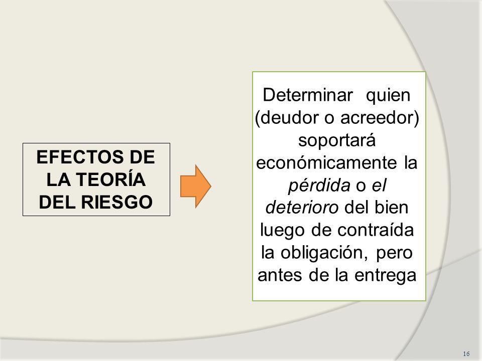 16 EFECTOS DE LA TEORÍA DEL RIESGO Determinar quien (deudor o acreedor) soportará económicamente la pérdida o el deterioro del bien luego de contraída la obligación, pero antes de la entrega