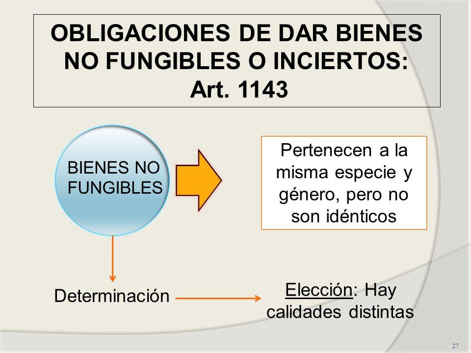 OBLIGACIONES DE DAR BIENES NO FUNGIBLES O INCIERTOS: Art.