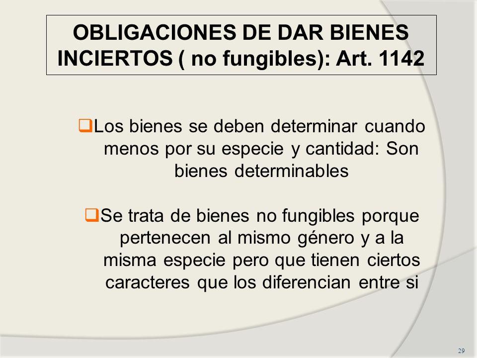 OBLIGACIONES DE DAR BIENES INCIERTOS ( no fungibles): Art.