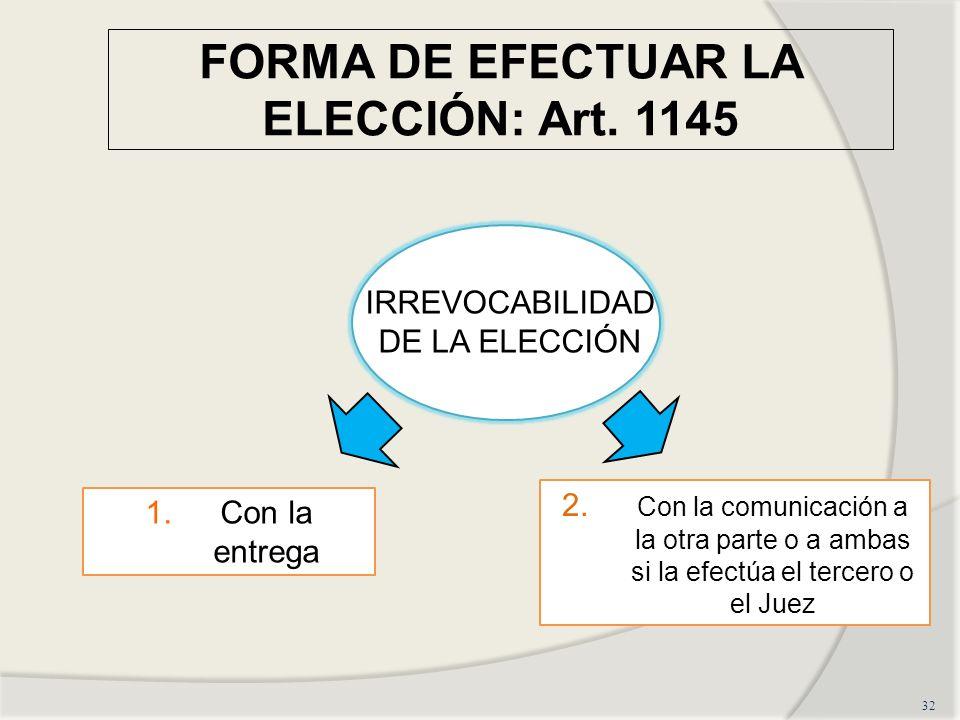 FORMA DE EFECTUAR LA ELECCIÓN: Art.1145 32 IRREVOCABILIDAD DE LA ELECCIÓN 1.Con la entrega 2.