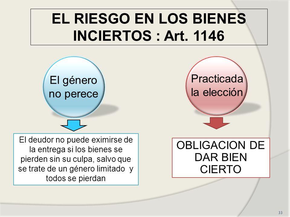 EL RIESGO EN LOS BIENES INCIERTOS : Art.