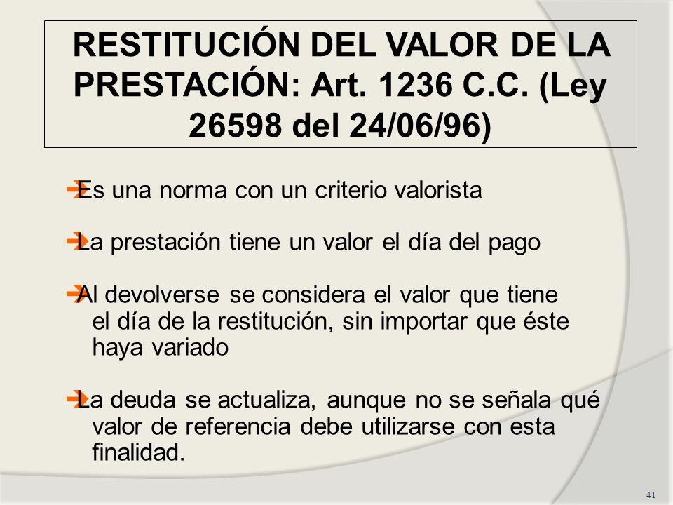 RESTITUCIÓN DEL VALOR DE LA PRESTACIÓN: Art.1236 C.C.