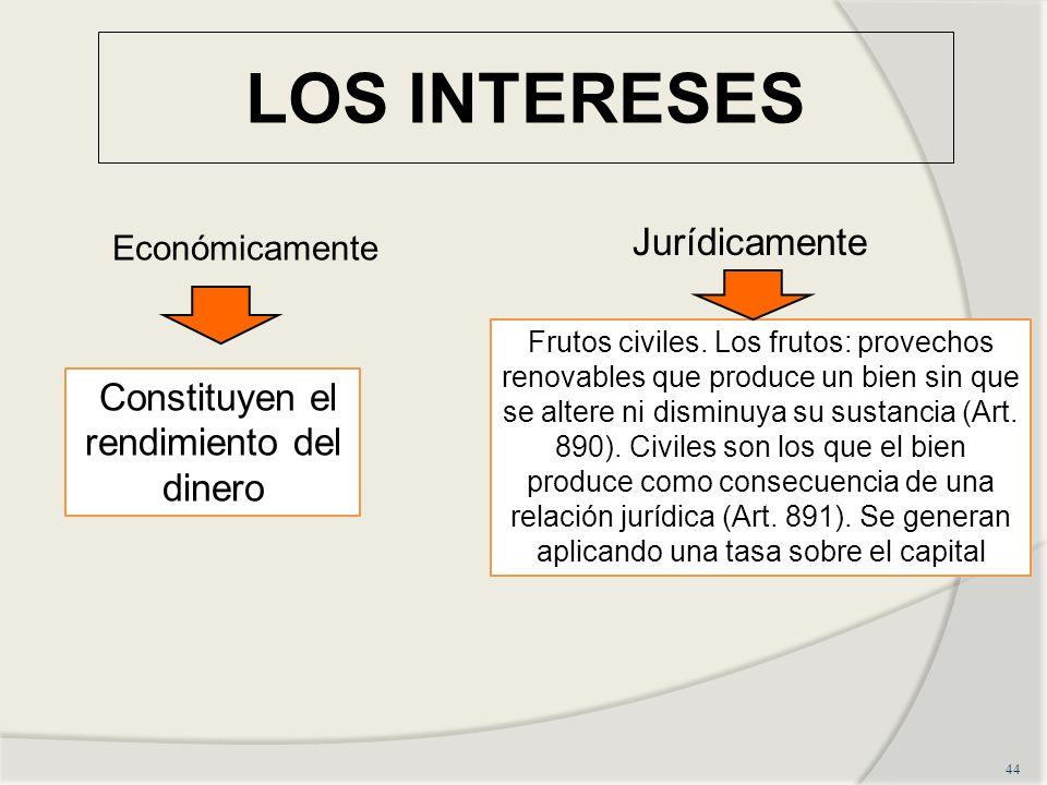 LOS INTERESES 44 Constituyen el rendimiento del dinero Frutos civiles.