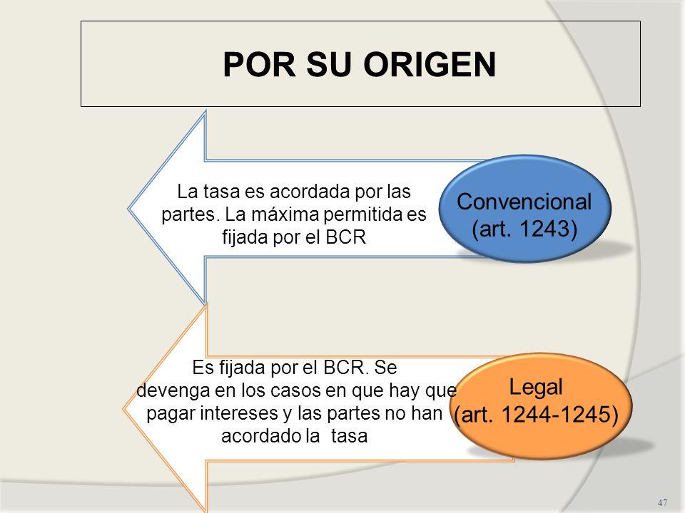 POR SU ORIGEN 47 Convencional (art.1243) Legal (art.