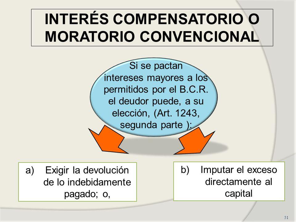 INTERÉS COMPENSATORIO O MORATORIO CONVENCIONAL 51 Si se pactan intereses mayores a los permitidos por el B.C.R.