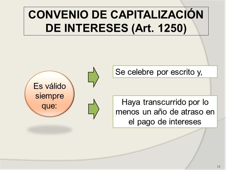 CONVENIO DE CAPITALIZACIÓN DE INTERESES (Art.
