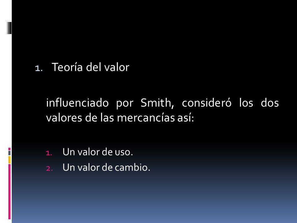 1. Teoría del valor influenciado por Smith, consideró los dos valores de las mercancías así: 1. Un valor de uso. 2. Un valor de cambio.