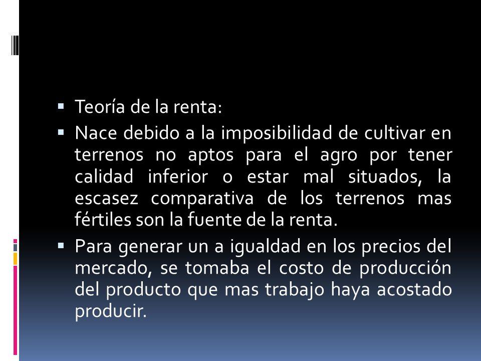 Teoría de la renta: Nace debido a la imposibilidad de cultivar en terrenos no aptos para el agro por tener calidad inferior o estar mal situados, la e