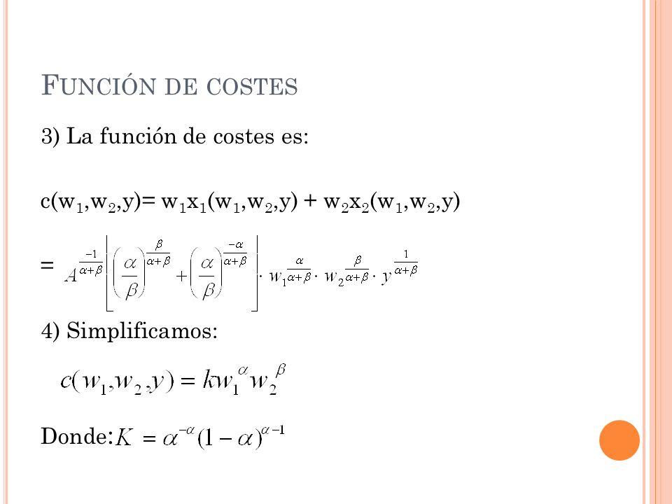 F UNCIÓN DE COSTES 3) La función de costes es: c(w 1,w 2,y)= w 1 x 1 (w 1,w 2,y) + w 2 x 2 (w 1,w 2,y) = 4) Simplificamos: Donde :